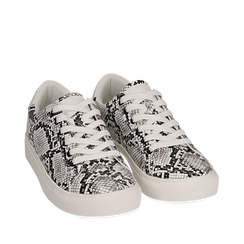 Sneakers bianco/nere in eco-pelle snake print, Sneakers, 152607101PTBINE035, 002a