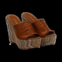 Mules platform cuoio in eco-pelle, zeppa intrecciata 13 cm, Primadonna, 132117214EPCUOI035, 002 preview