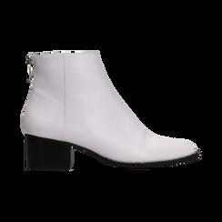 Tronchetti bianchi con zip, tacco medio 4,5 cm, Scarpe, 122752721EPBIAN, 001 preview