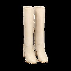 Stivali beige in pelle di vitello, tacco 9 cm, Primadonna, 158900890VIBEIG038, 002a