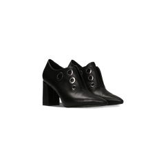 Tronchetti neri con oblò metallo, tacco 7 cm, Scarpe, 128405082EPNERO, 002 preview