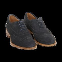 Derbies bleu en Nubuck, Chaussures, 159908418CMBLUE036, 002 preview