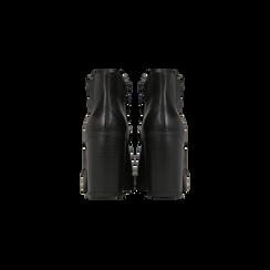 Chelsea Boots neri, suola in gomma e tacco 10 cm, Scarpe, 129300511EPNERO, 003 preview