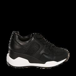 Zapatillas color negro, cuña 7 cm , Primadonna, 162800947EPNERO036, 001a