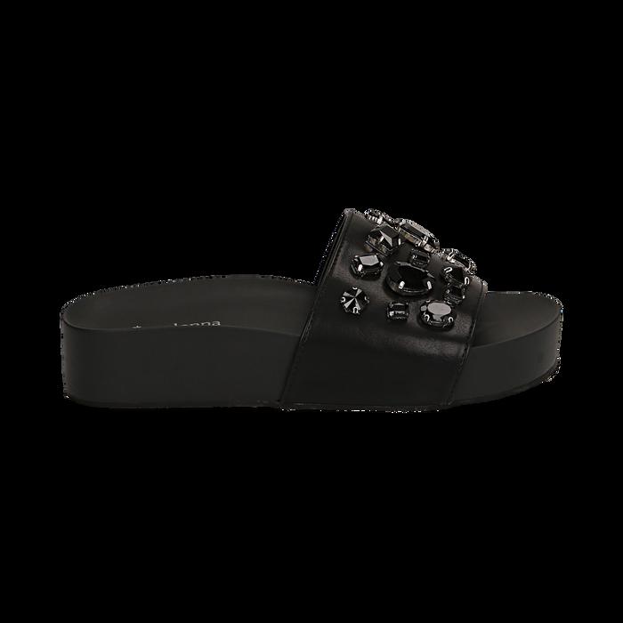 Zeppe nere in eco-pelle con gemme, zeppa 4 cm, Primadonna, 115160026EPNERO041