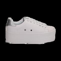 Sneakers bianche in eco-pelle dettaglio argento e suola platform, Scarpe, 132602020EPBIAR036, 001 preview