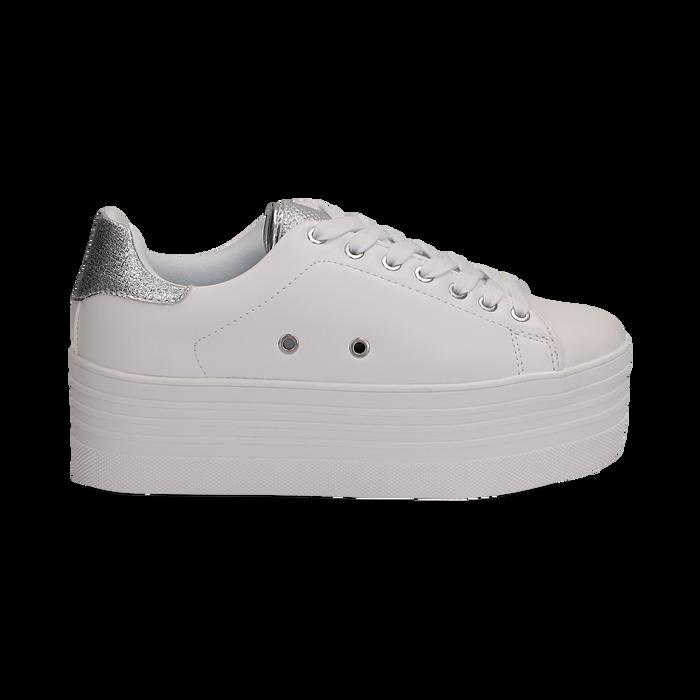 Sneakers bianche in eco-pelle dettaglio argento e suola platform, Scarpe, 132602020EPBIAR036