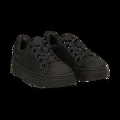 Sneakers nere glitter, suola 4 cm ,