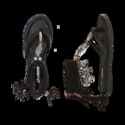 Sandali infradito lace-up neri, Scarpe, 153683578EPNERO, 003 preview