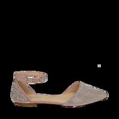 Bailarinas con brillantes de microfibra en color nude, Zapatos, 154968041MPNUDE037, 001a