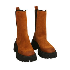 WOMEN SHOES DEMI-BOOT SUEDE COGN, Primadonna, 187204401CMCOGN035, 002a
