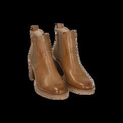 Chelsea boots cuoio in pelle, tacco 6 cm, Mid Season Sale, 157711439PECUOI035, 002 preview