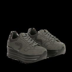 Sneakers grigie con maxi platform a righe, Primadonna, 122800321MFGRIG039, 002a