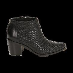 Ankle boots neri in pelle intrecciata, tacco 6,50 cm, Primadonna, 15J492506PINERO036, 001 preview