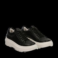 Sneakers nere in eco-pelle con suola flat, Scarpe, 132019051EPNERO035, 002a