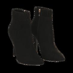 Ankle boots neri in microfibra, tacco 10 cm , Stivaletti, 142146863MFNERO035, 002a
