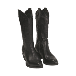 Camperos neri in pelle, tacco 4 cm, Primadonna, 157732902PENERO036, 002 preview