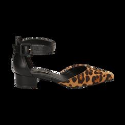 Décolleté leopard in microfibra con cinturino alla caviglia, tacco 3,50 cm , Scarpe, 144820733MFLEOP037, 001 preview