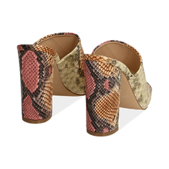 Mules rosa/beige in eco-pelle snake print, tacco 10,50 cm, Chaussures, 152709445PTRSBE036, 004 preview