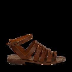 Sandali flat cuoio in pelle, Primadonna, 138100802VACUOI035, 001a