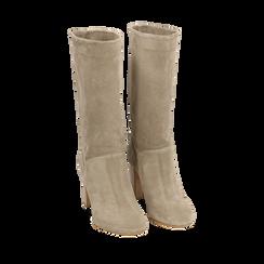 Stivali taupe in camoscio, tacco 9 cm, Primadonna, 158900891CMTAUP039, 002a