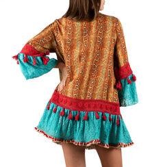 Caftan turquoise en tissu imprimé afro, Primadonna, 150500042TSTURCUNI, 002a