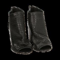 Bottines noires à bout ouvert en cuir de veau, talon de 9 cm, Chaussures, 15A217013VINERO036, 002 preview