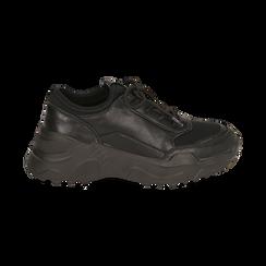 Dad shoes nere in eco-pelle, zeppa 4 cm, Primadonna, 142892502EPNERO037, 001 preview
