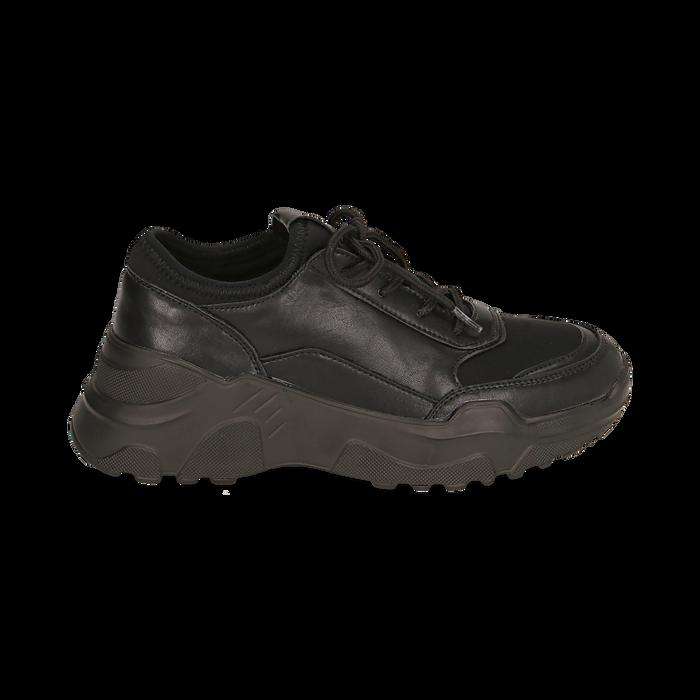 Dad shoes nere in eco-pelle, zeppa 4 cm, Primadonna, 142892502EPNERO037