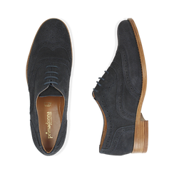 Derbies bleu en Nubuck, Chaussures, 159908418CMBLUE036, 003 preview