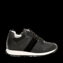 Sneakers glitter nere con dettaglio mirror, 132899414GLNERO035, 001a