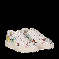 Sneakers bianche in eco-pelle con scritte cartoon , Scarpe, 139301164EPBIAN035, 002a