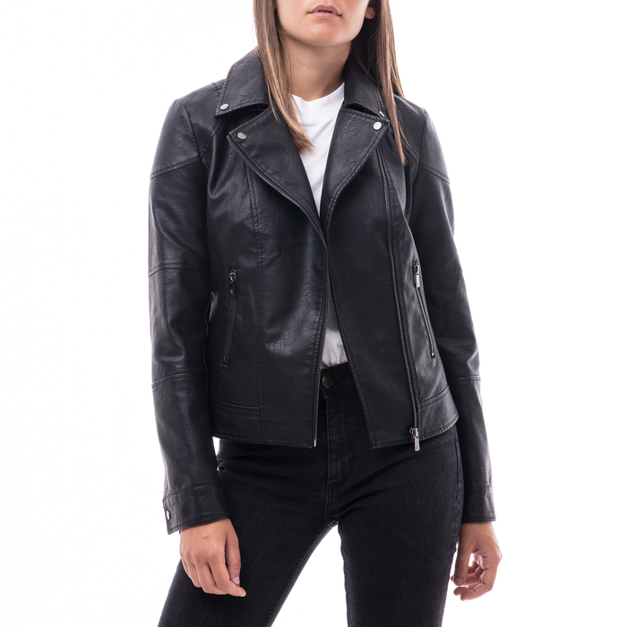 Biker jacket nera in eco-pelle, Abbigliamento, 146501883EPNERO
