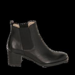 Chelsea boots neri in pelle, tacco 6 cm, Scarpe, 157711439PENERO035, 001a