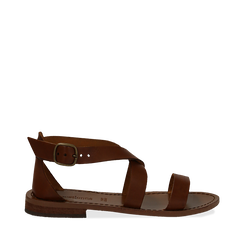 Sandali flat cuoio in pelle, Primadonna, 138100112VACUOI035, 001a