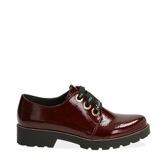 Stringate bordeaux in vernice con lacci in gros-grain, Scarpe, 140608577VEBORD035, 001a