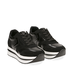 Sneakers platform nere in eco-pelle, effetto snake skin, zeppa 4 cm , Scarpe, 142892263EVNERO036, 002a
