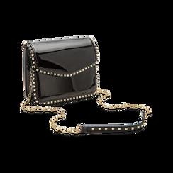 Pochette con tracolla nera in ecopelle vernice, profili mini-borchie, Saldi Borse, 123308852VENEROUNI, 003 preview