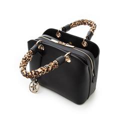 Borsa piccola nera in eco-pelle, con manico foulard, Borse, 135786700EPNEROUNI, 004 preview