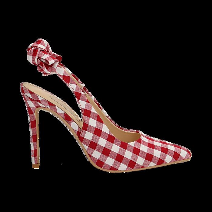 Décolleté Slingback bianco/rosse in tessuto Vichy, tacco 10,5 cm, Scarpe, 132167260TSBIRO035