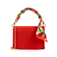 Mini bag corallo in microfibra con manico foulard in raso, Primadonna, 155122756MFCORAUNI, 001 preview