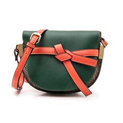 Borsa piccola verde in eco-pelle con dettagli in tweed, Borse, 142406448EPVERDUNI, 001 preview