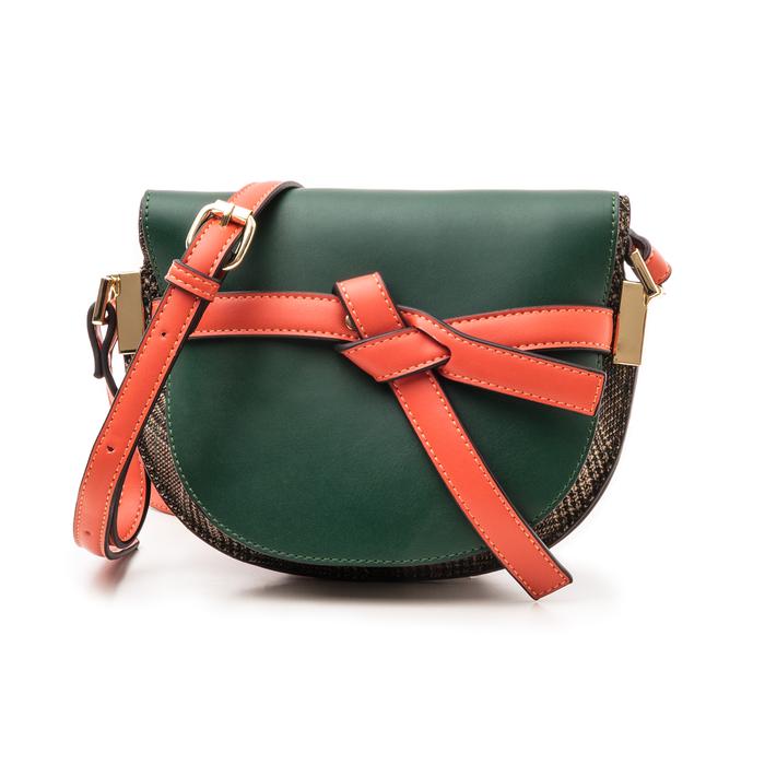 Borsa piccola verde in eco-pelle con dettagli in tweed, Borse, 142406448EPVERDUNI