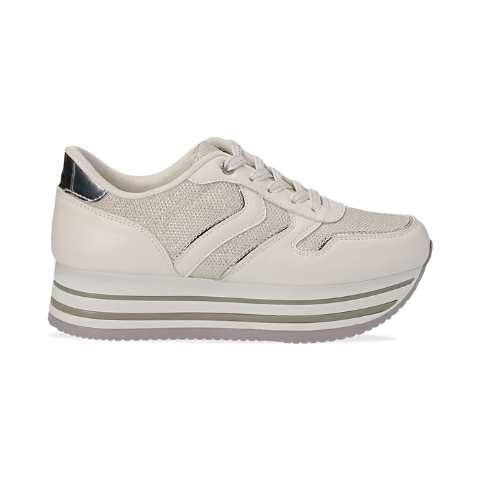 best website b7432 703fb Sneakers flatform bianche in eco-pelle, zeppa 4 cm