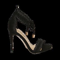 Sandali neri in microfibra, tacco 11 cm , Primadonna, 152122111MFNERO035, 001a