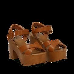 Sandali cuoio in eco-pelle, tacco 9 cm , Primadonna, 134987035EPCUOI035, 002a