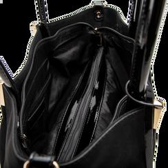 Maxi-bag a spalla nera in microfibra scamosciata, Saldi, 125702033MFNEROUNI, 004 preview