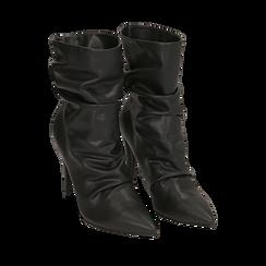 Ankle boots drappeggiati neri in eco-pelle, tacco 10 cm , Stivaletti, 142152925EPNERO035, 002a