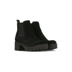 Chelsea Boots neri in vero camoscio, tacco medio 5,5 cm, 127723509CMNERO038, 002