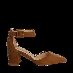 Décolleté marrone in microfibra con cinturino alla caviglia, tacco a blocco 6,5 cm, Scarpe, 132182395MFMARR036, 001a